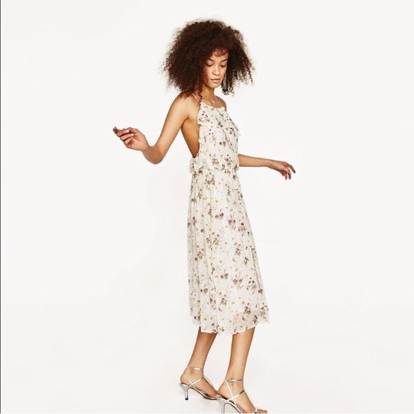 Zara Dresses & Skirts - Zara Stunning Sequin Floral Ruffle Flounce Dress